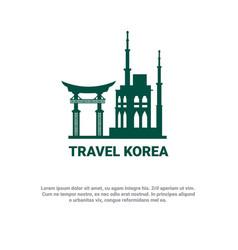 Travel to korea banner south korean landmarks icon vector