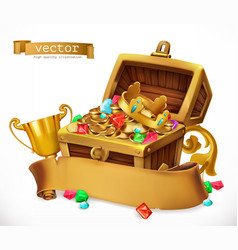Treasure chest 3d icon vector