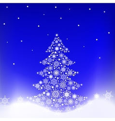 Tree from snowflakes vector image