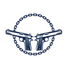 Two crossed handguns emblem or logo isolated on vector