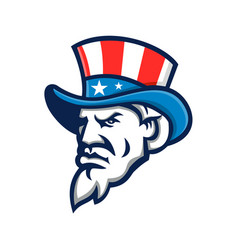 uncle sam wearing usa top hat mascot vector image