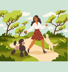 walk with dog young woman and happy vector image