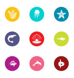 water slip icons set flat style vector image