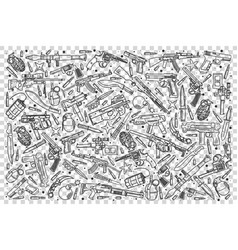weapons doodle set vector image