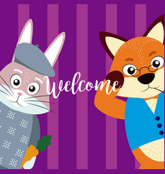 Welcome card with cute animals vector