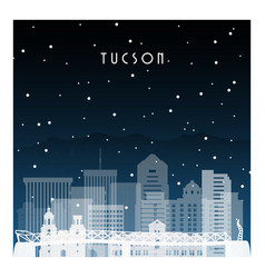 winter night in tucson night city in flat style vector image