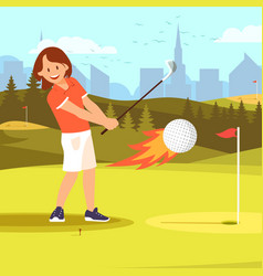 Woman golf player hitting ball enveloped in fire vector