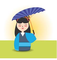 Woman with kimono and umbrella decoration design vector
