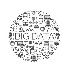 words big data surrounded by icons vector image