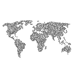 Worldwide map mosaic of skull icons vector
