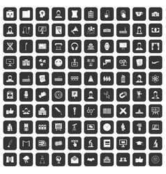 100 conference icons set black vector
