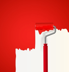 Background of red roller painting the wall vector image vector image