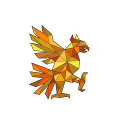 cuauhtli glifo eagle fighting stance low polygon vector image vector image
