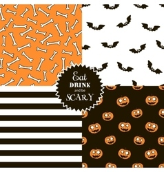 Halloween set of seamless patterns vector image vector image