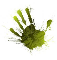 technological green splatter handprint vector image vector image