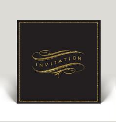 Template invitation with glitter gold flourishes vector