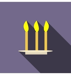 Three candles icon in flat style vector image
