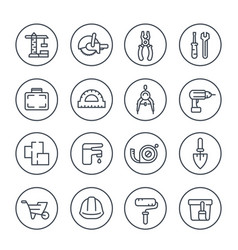 construction and renovation line icons vector image