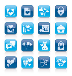 Love and valentine holidays icons vector