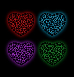 Valentine hearts glowing in the dark vector image