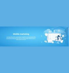 mobile marketing concept business horizontal vector image vector image