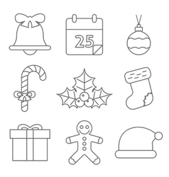 Christmas Icons Line vector image