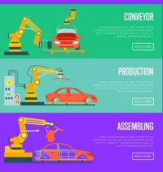 conveyor for assembly of cars concept vector image vector image