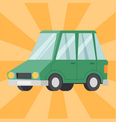 flat green car vehicle type design sedan style vector image vector image