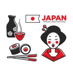 Japan culture food and travel symbols or famous vector