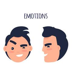 man skeptic emotions flat concept vector image