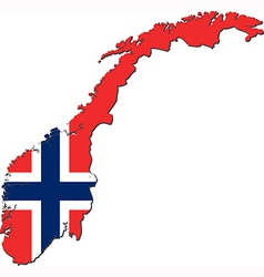 Map of norway with national flag vector