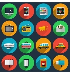 Media and information channels icons with long vector image vector image