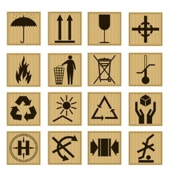 Pack Icon Set on The Cardboard Box vector image