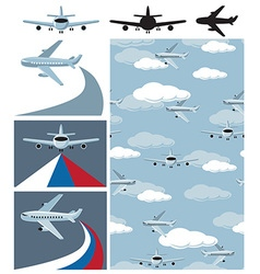 plane and seamless pattern vector image