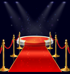 Podium with red carpet ropes stanchions vector