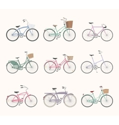 Set of retro bicycles on white background vector image