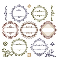 set of royal vintage frames vector image vector image