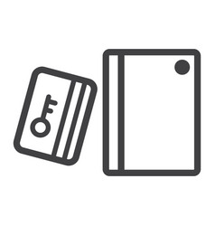 swipe card reader with keypad line icon vector image