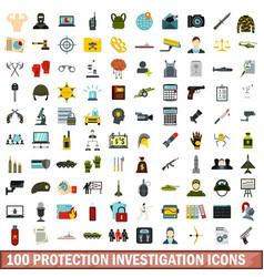 100 protection investigation icons set flat style vector