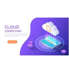 3d isometric web banner tablet pc uploading file vector image