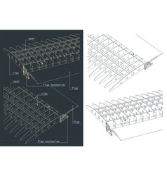 Aircraft wing structure and flaps systems drawings vector