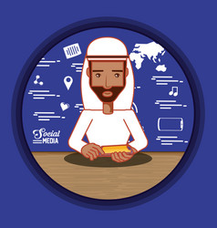 arab man with social media icons vector image