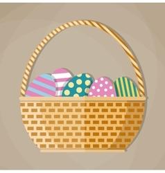basket full colored easter eggs vector image