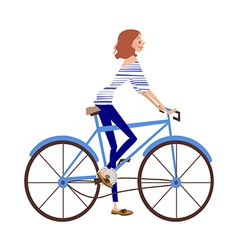 bicycle woman vector image