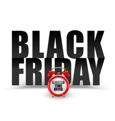 black friday black text on white background vector image