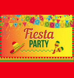 Bright poster fiesta party on yellow vector