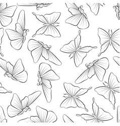 butterflies fly coloring book doodle nature in vector image