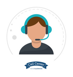 call center man receptionist help vector image