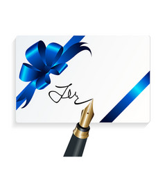 Card with blue gift bow and signing with a vector