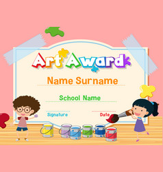 Certificate template for art award with kids vector